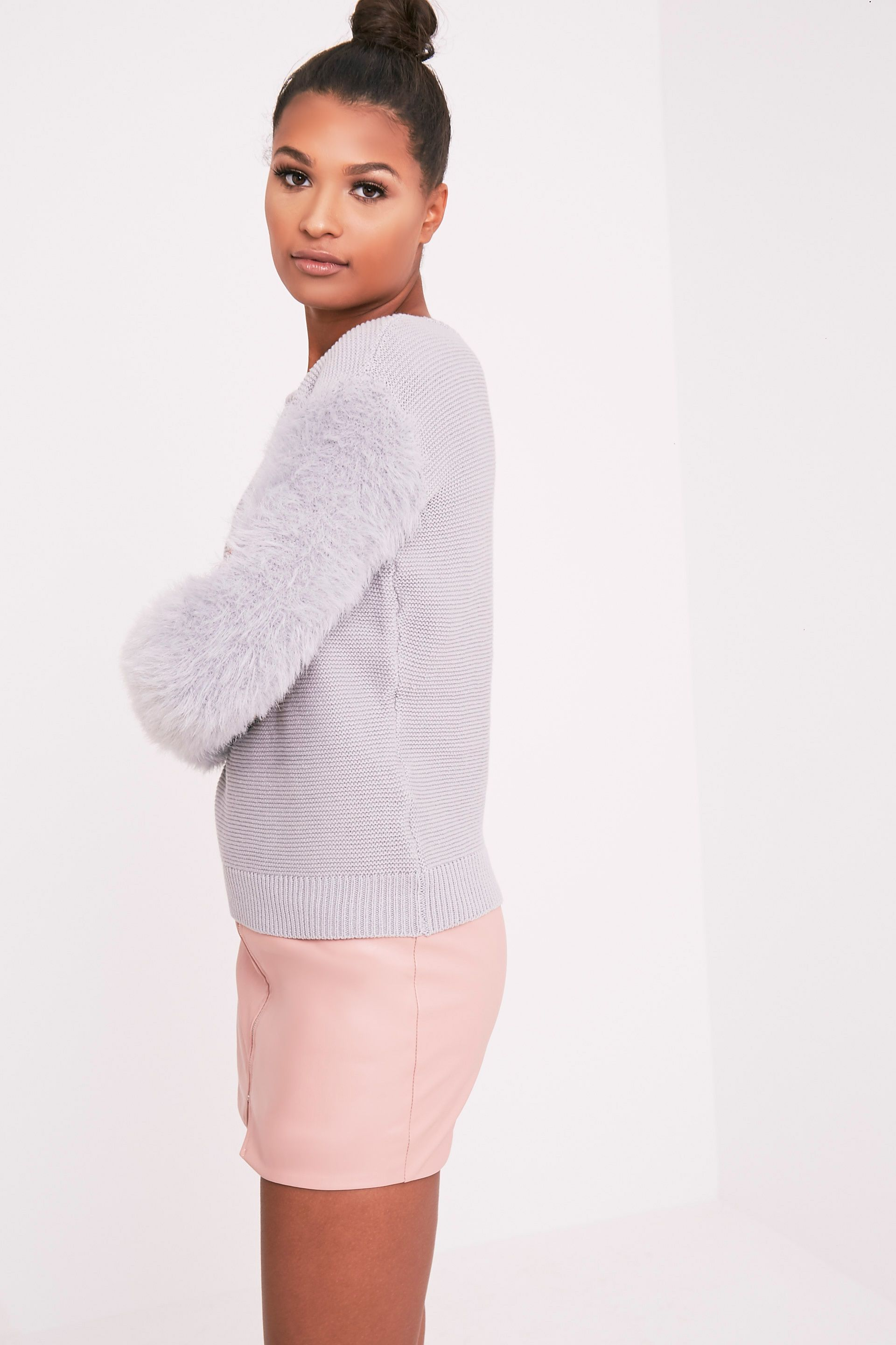 Rene Grey Fluffy Sleeve Fine Knit Jumper 4