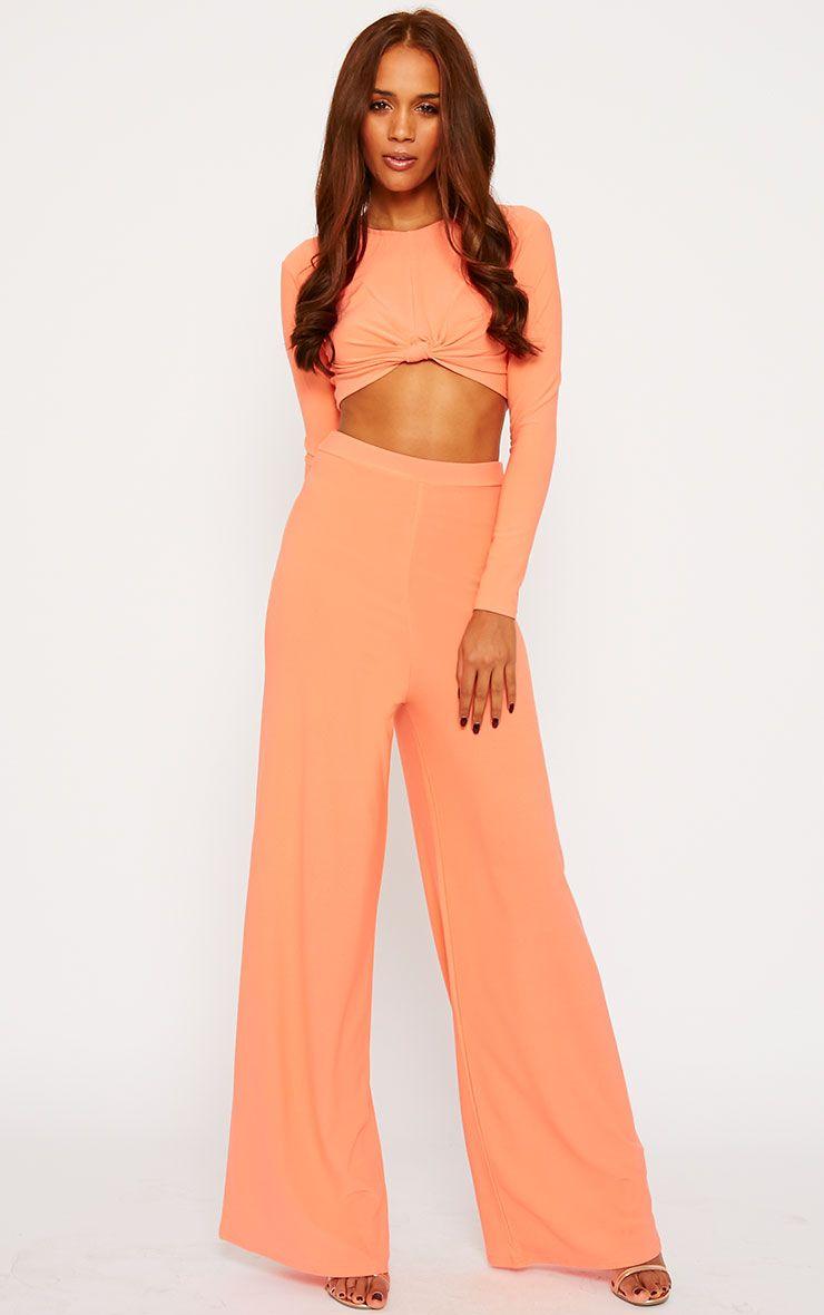 Zafia Orange Crepe Palazzo Trousers 1
