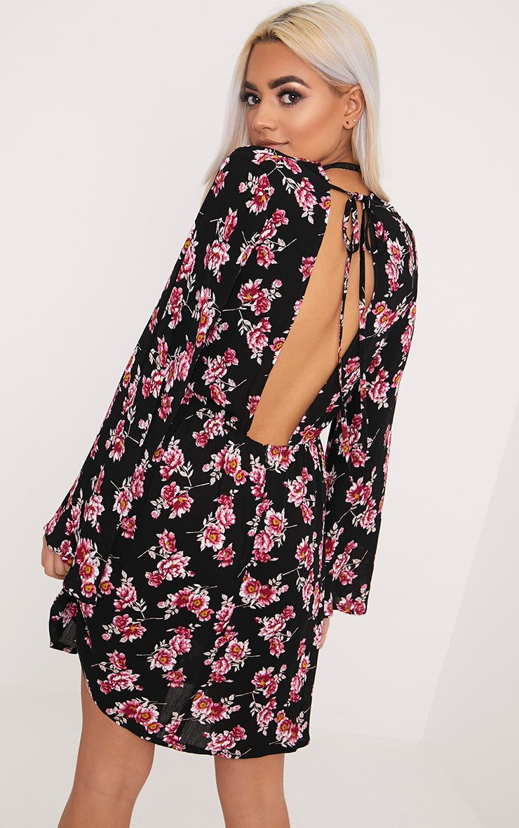 Flisse Black Floral Open Back Shift Dress