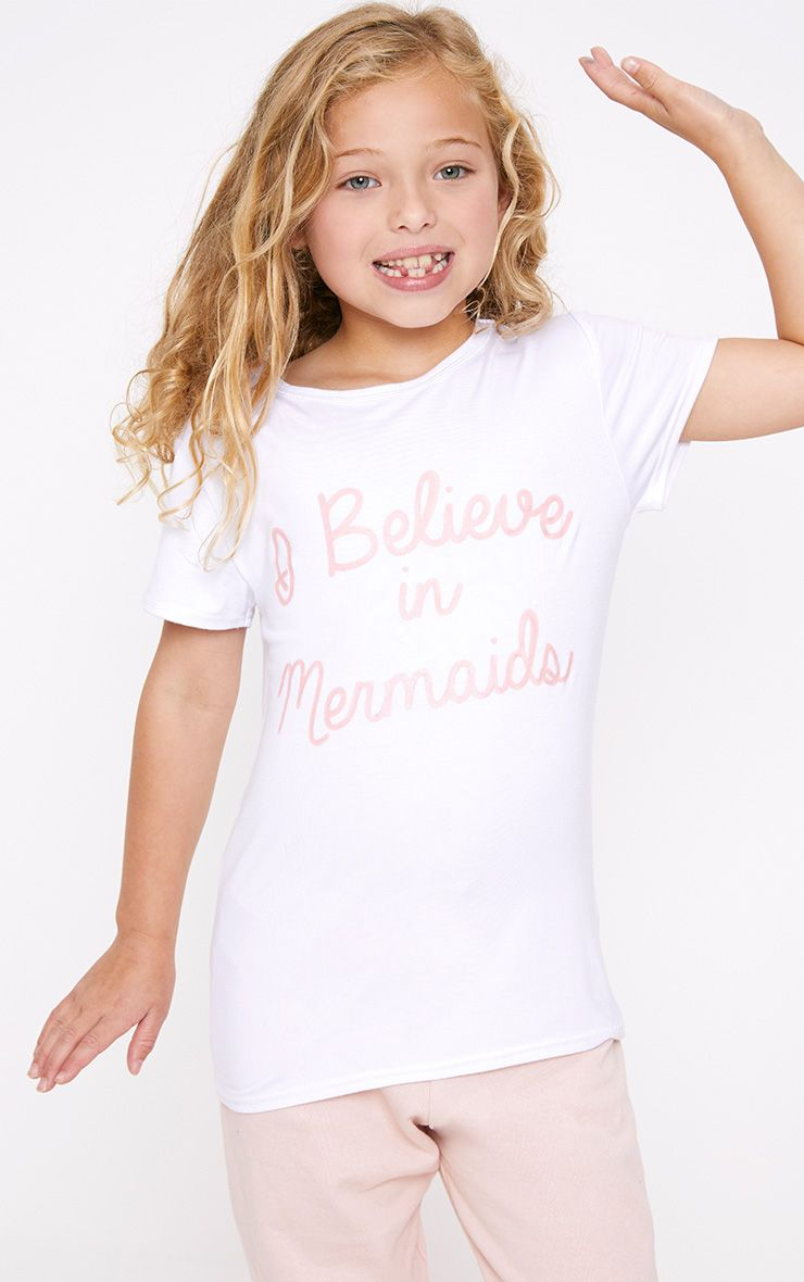 I Believe In Mermaids White T Shirt