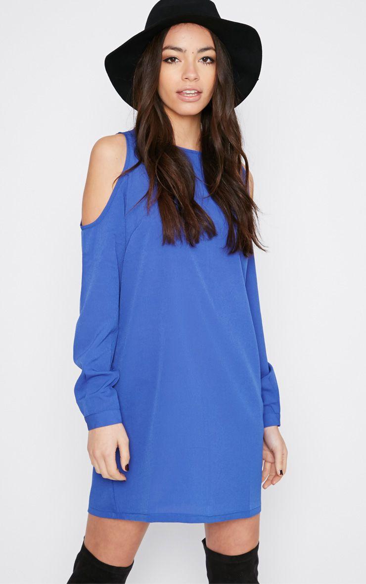 Genny Cobalt Cut Out Shoulder Dress 1