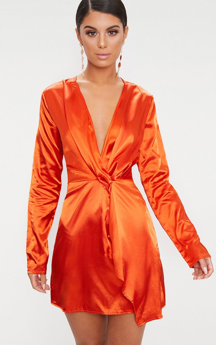 Orange Satin Wrap Dress