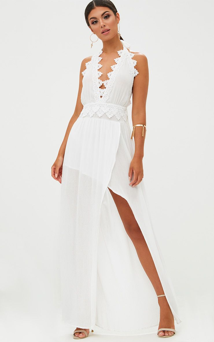 White Cheesecloth Crochet Trim Maxi Dress