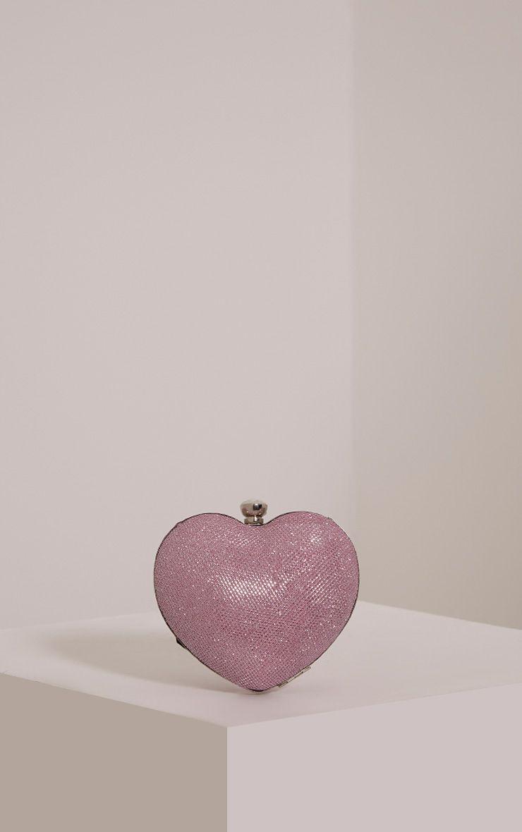 Raquel Pink Love Heart Clutch Bag Pink