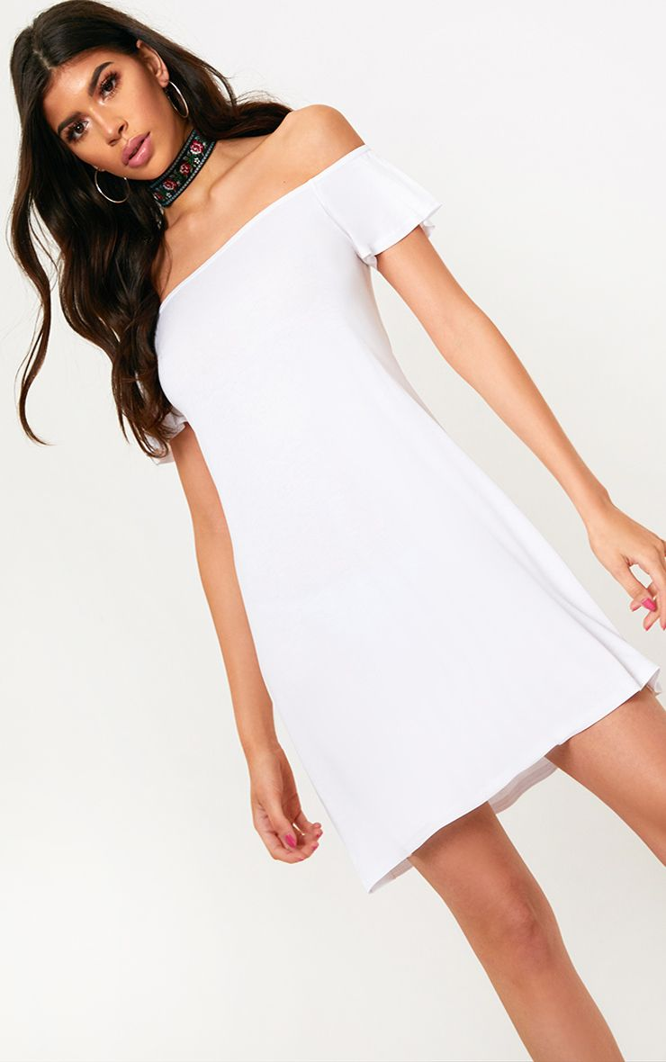 White Jersey Bardot Swing Dress
