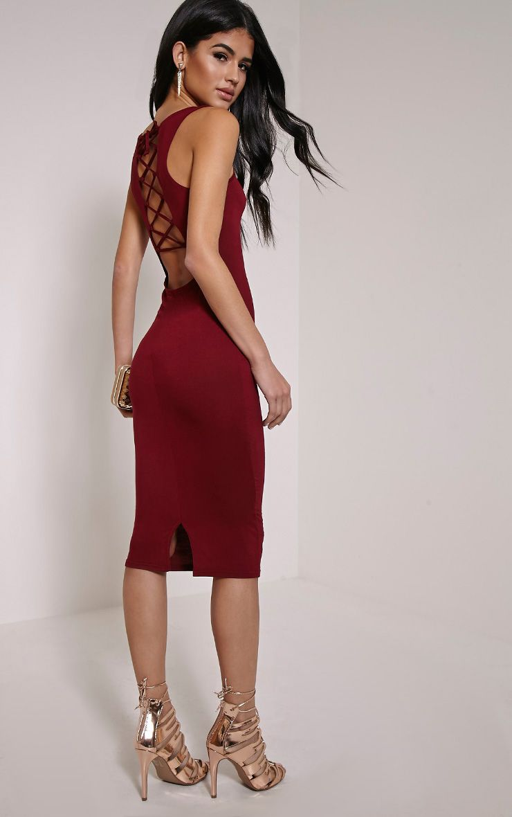 Chrissie Burgundy Lace Up Back Midi Dress 1