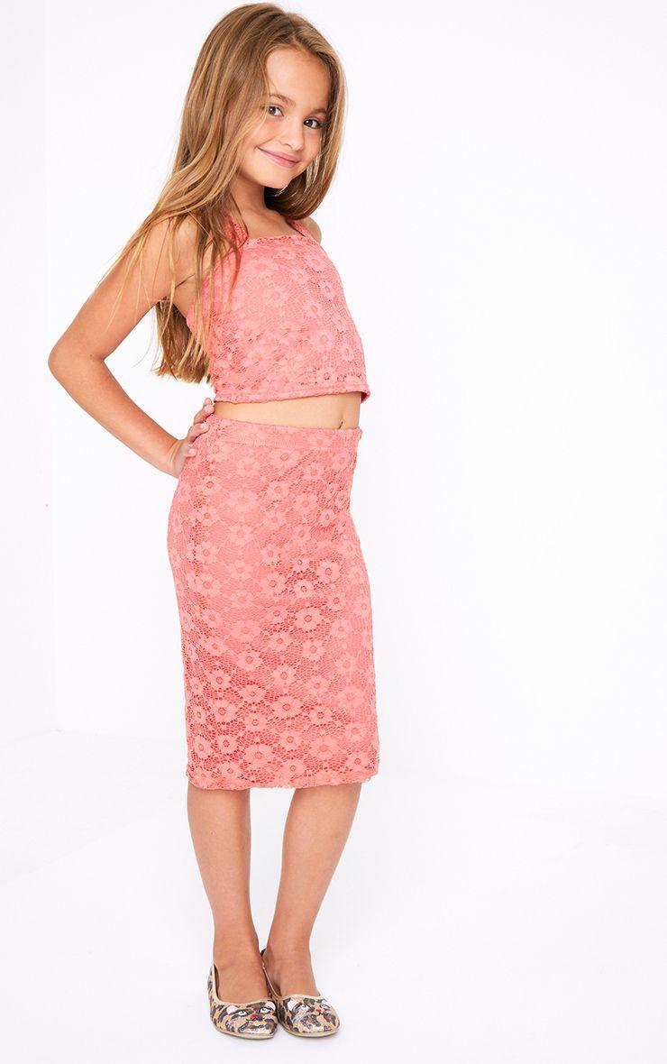 Lace Pink Midi Skirt