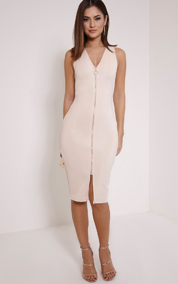 Edie Nude Zip Front Midi Dress 1