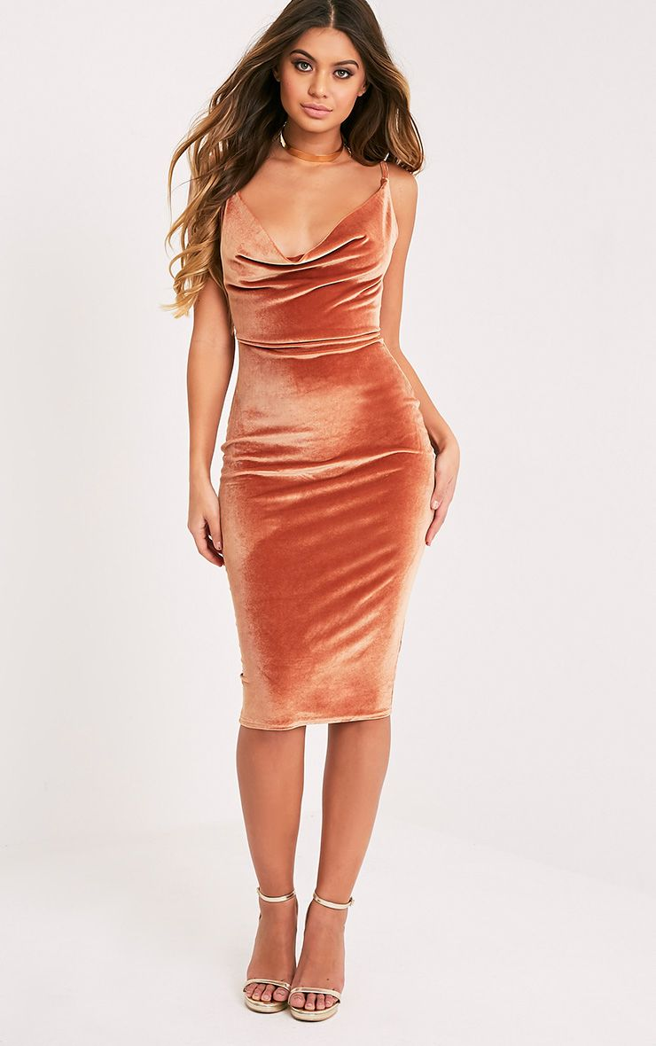 Anelise Copper Velvet Cowl Neck Midi Dress