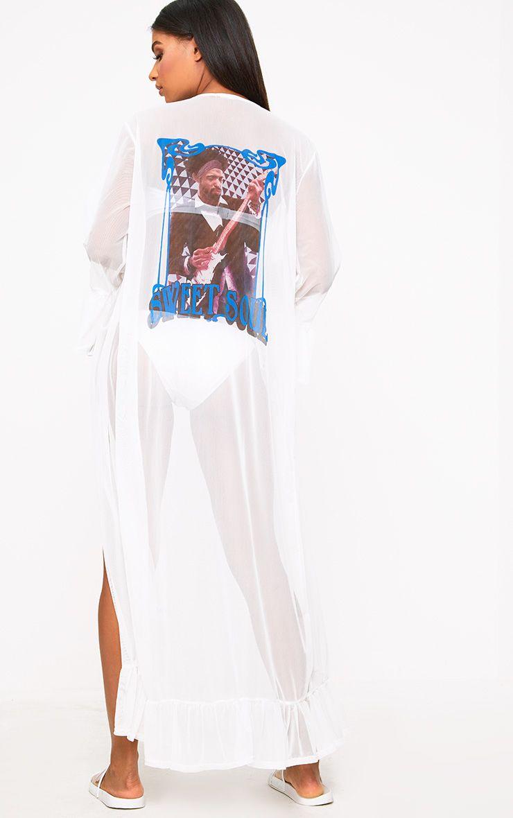 White Mesh Band Print Frill Kimono