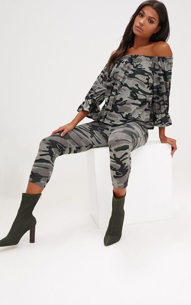Khaki Camouflage Bardot Longsleeve Top