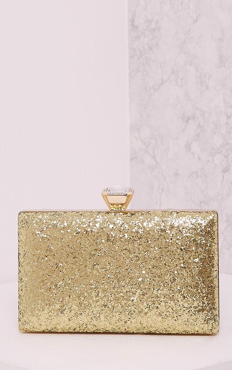 Dinnie Gold Glitter Box Clutch Bag 1