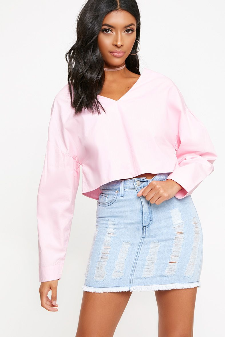 Pink V Neck Drop Sleeve Shirt