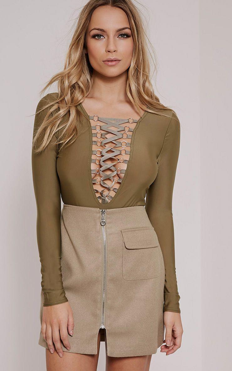 Enya Khaki Lace Up Front Bodysuit 1