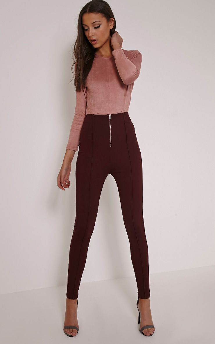 Aliza Plum High Waisted Zip Front Cigarette Trousers 1
