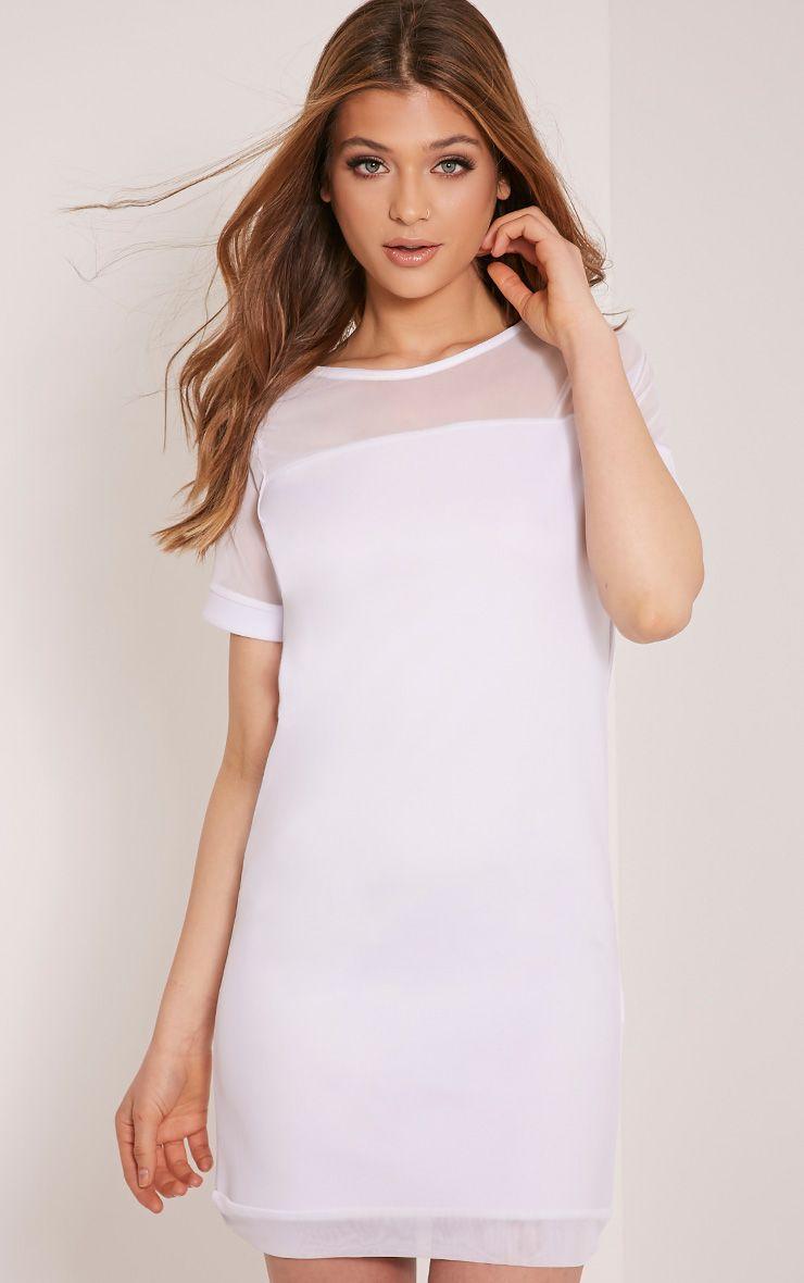Kaisa White Mesh Insert T Shirt Dress 1