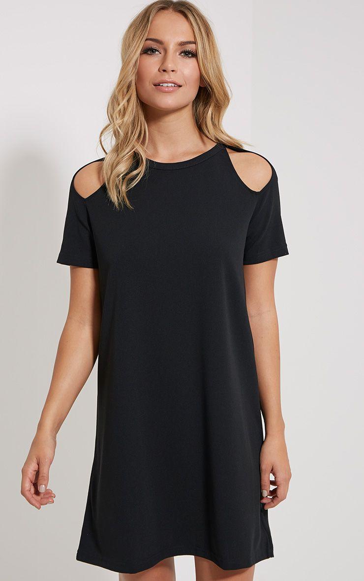 Sandie Black Cold Shoulder Shift Dress
