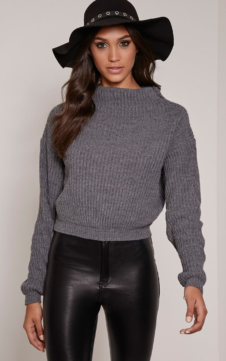 Jodie Grey Funnel Neck Oversized Jumper 1