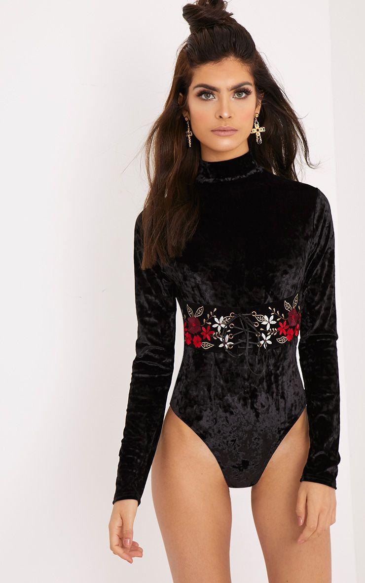 Arielle Black Velvet Longsleeve Corset Detail Thong Bodysuit