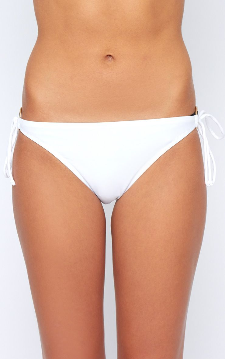 Christina White Side Tie Bikini Bottoms 1