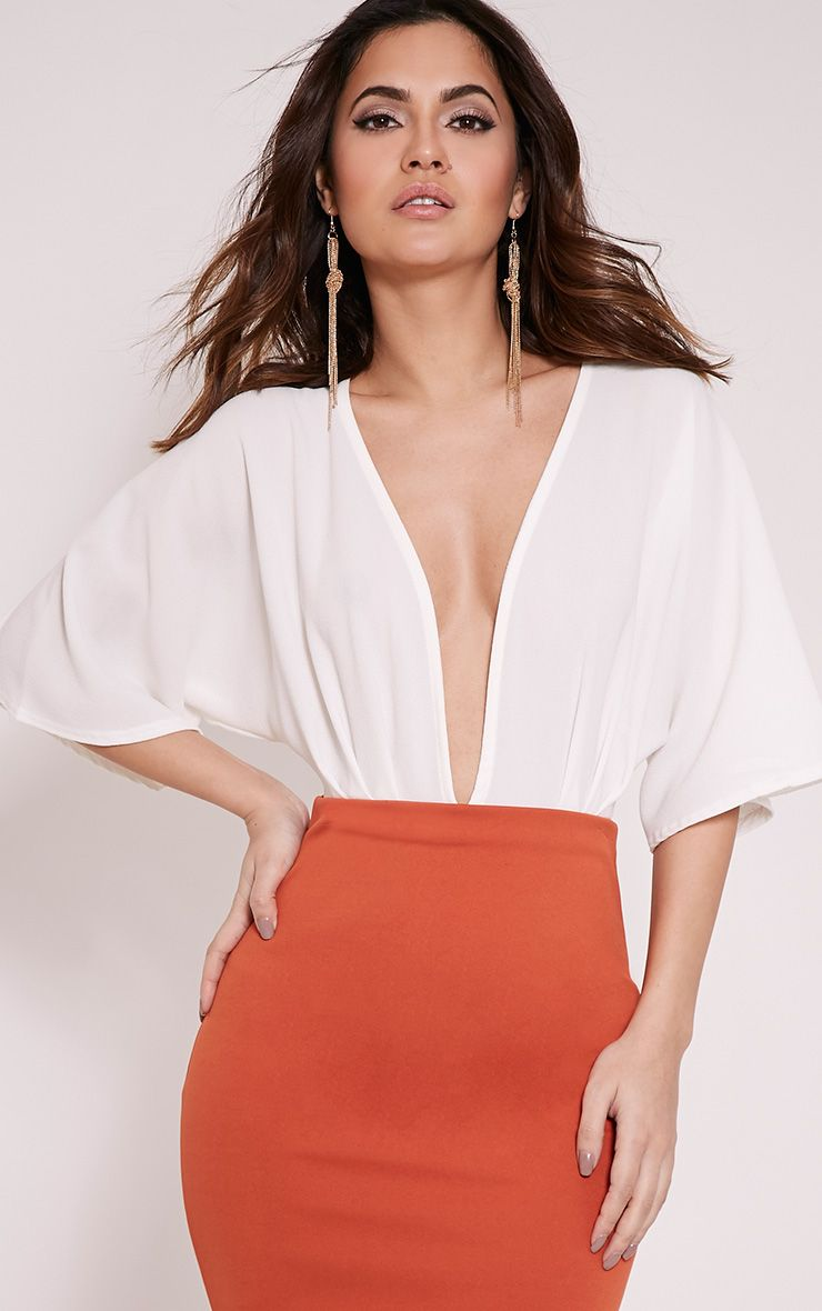 Teigan Cream Wide Sleeve Plunge Bodysuit 1