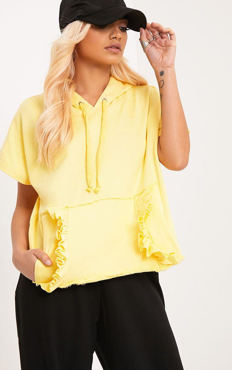 Dorla Yellow Ruffle Pocket Boxy Hoodie