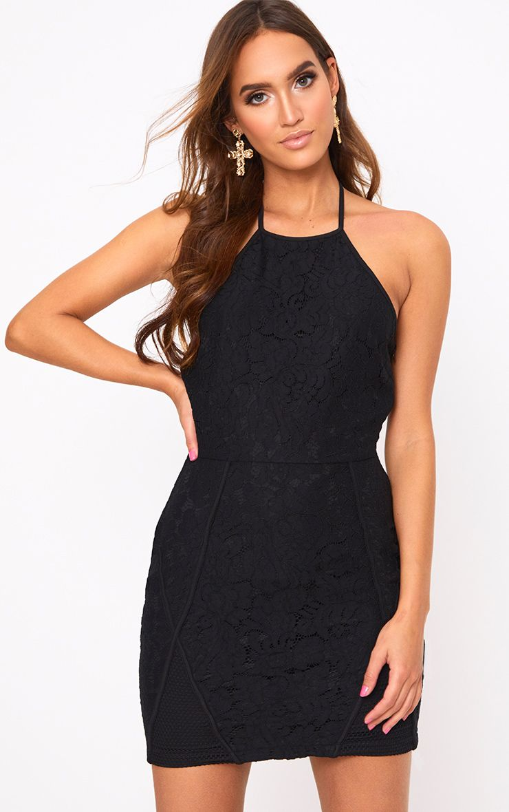 Black Lace Fishnet Panel Halterneck Bodycon Dress