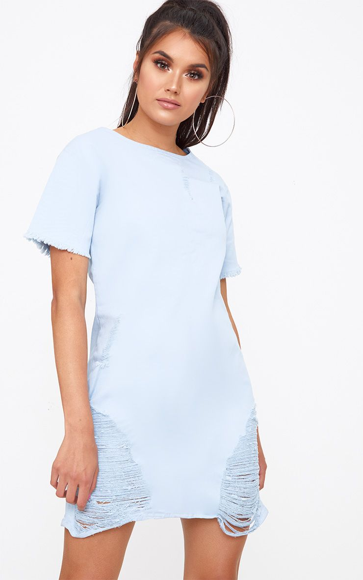 Light Wash Super Shred Denim Mini Dress