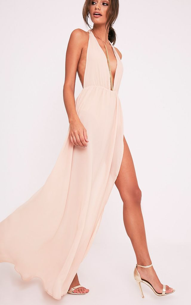 Nude Cape Detail Plunge Fishtail Maxi Dress Pretty Little Thing Sale Outlet Locations Outlet Browse Pick A Best Latest fDuMP