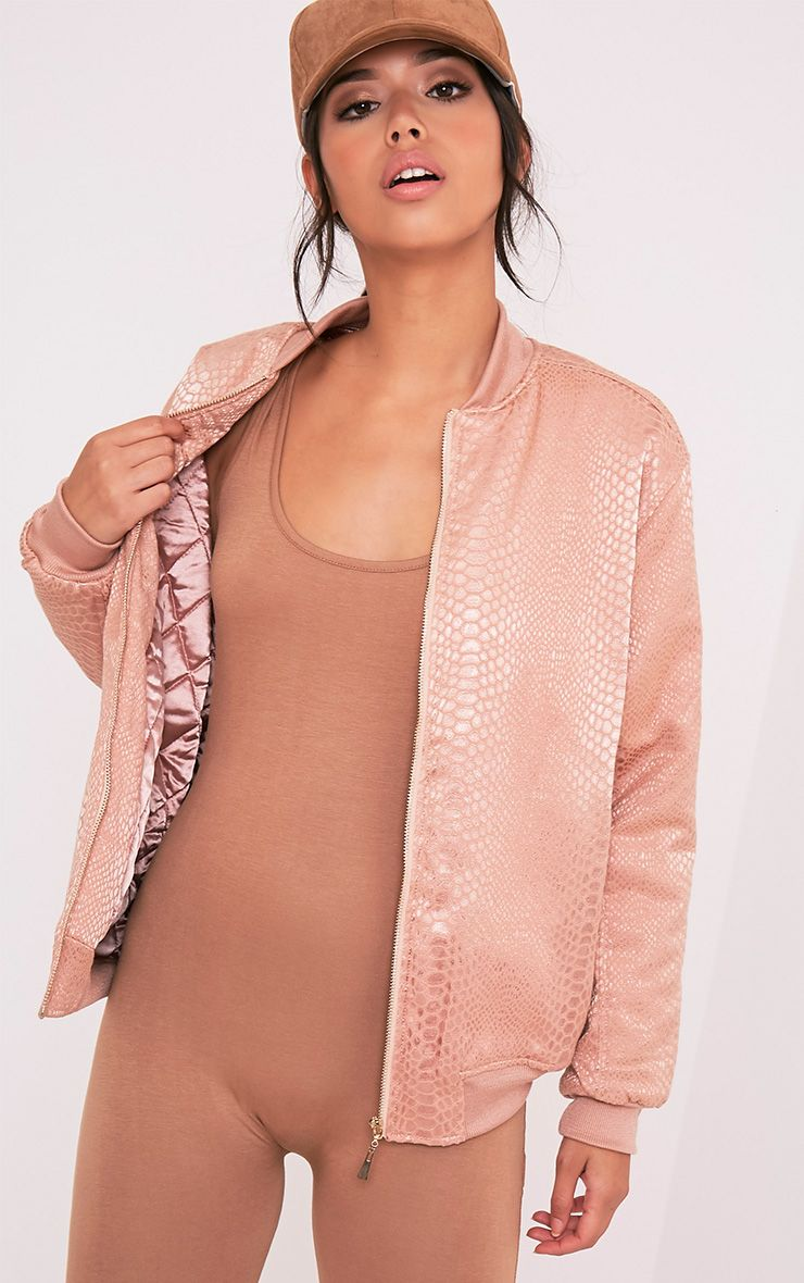 Leatrice Rose Gold Snakeprint Padded Bomber Jacket 1
