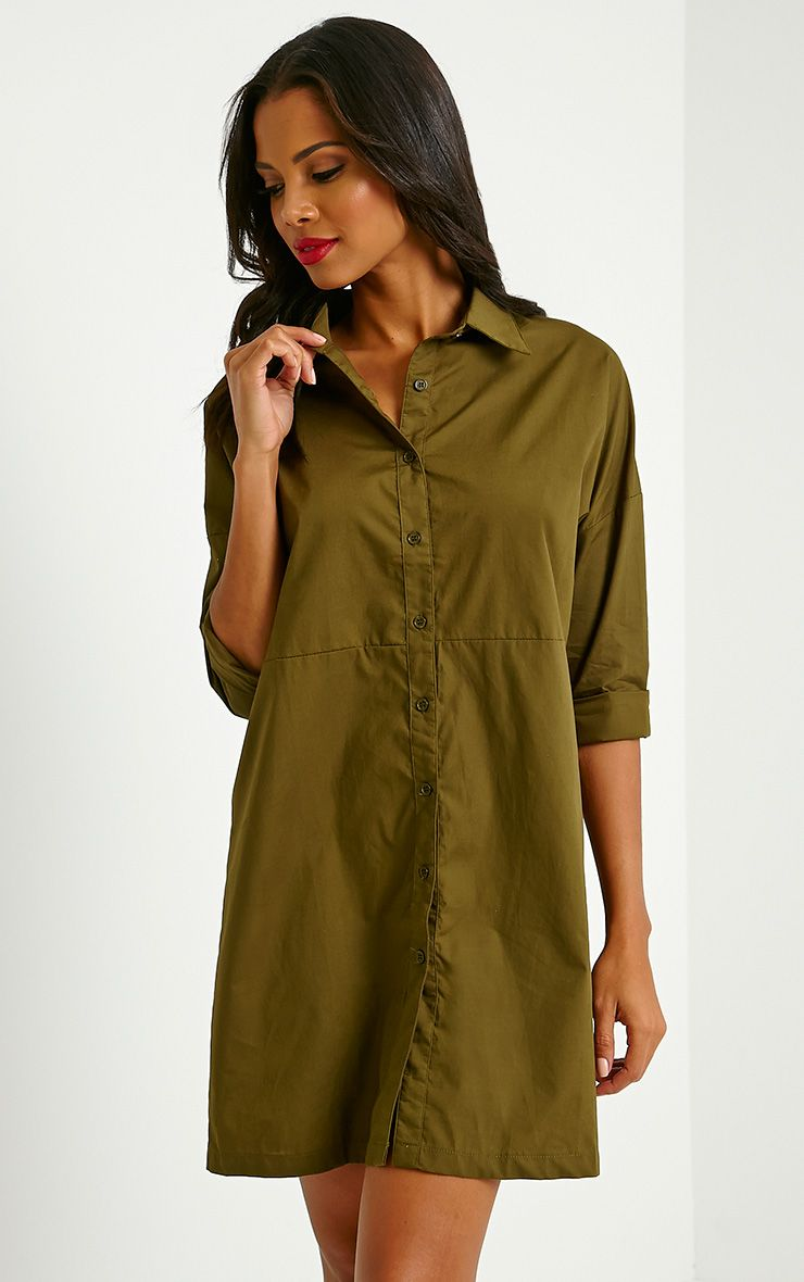 Carson Khaki Shirt Dress 1