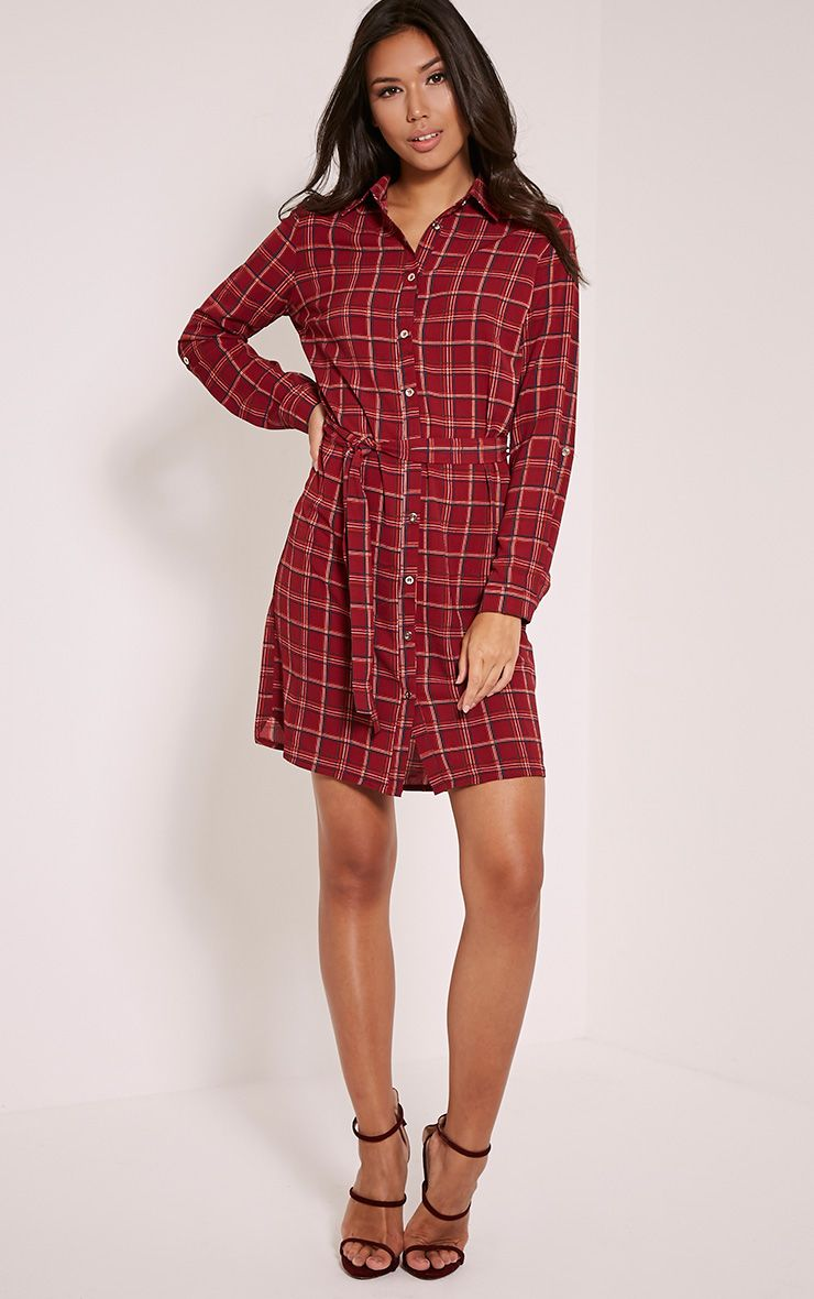 Sandia Burgundy Checked Tie Waist Shirt Dress 1
