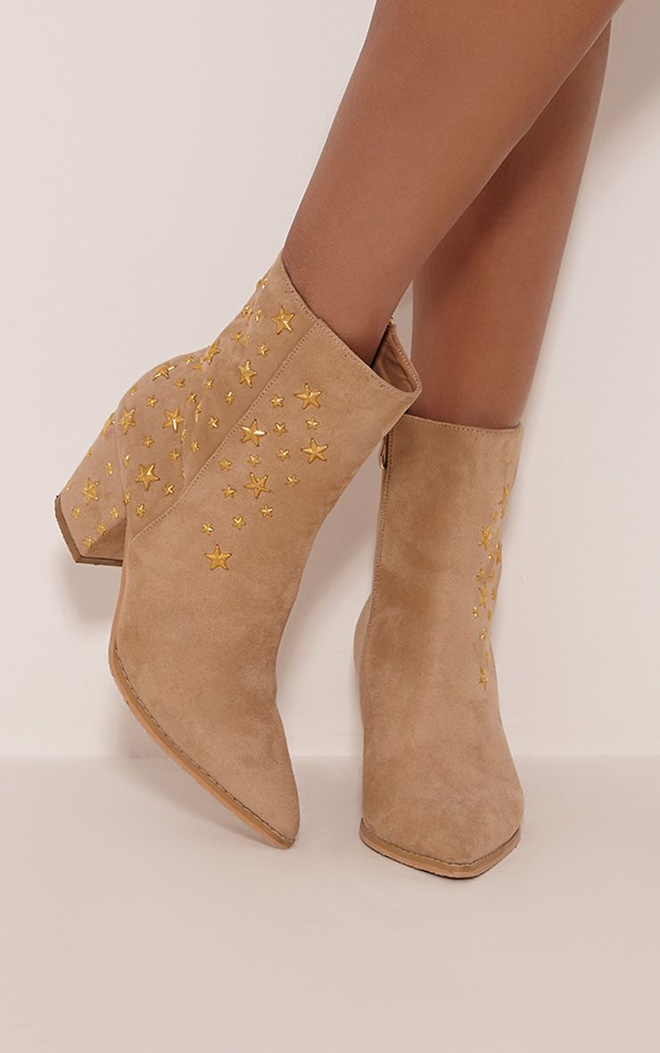 Arrabella Cream Faux Suede Star Studded Ankle Boots
