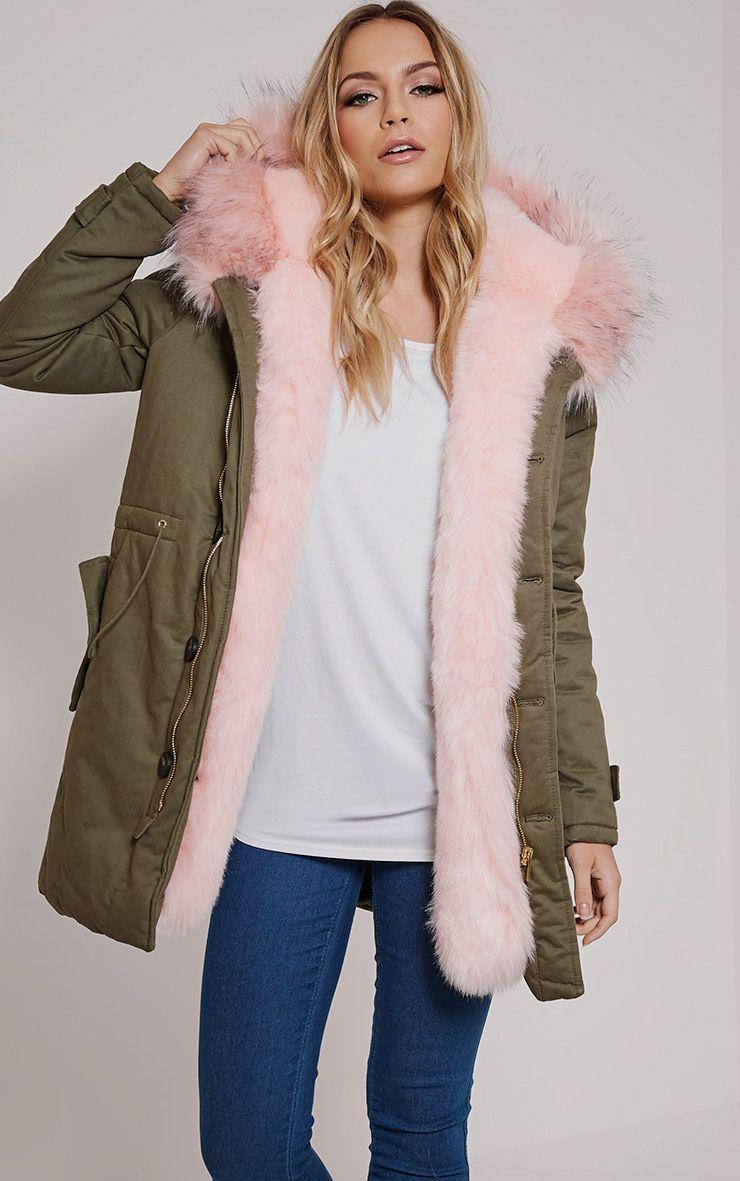Jen Pink Faux Fur Lined Premium Parka Coat 1