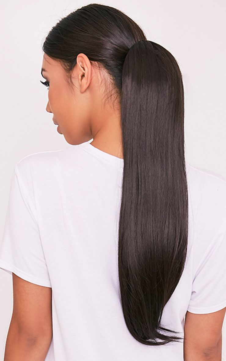 Dark Brown Clip In Straight Ponytail 1