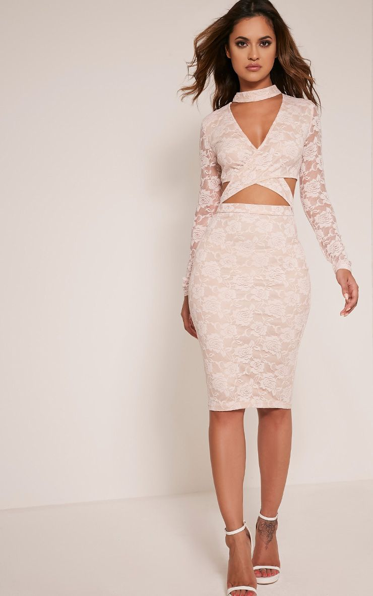 Emely Nude Neck Detail Cut Out Lace Midi Dress 1