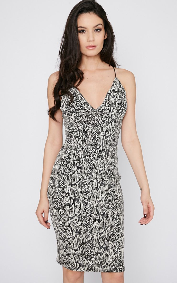 Monika Snake Print Cross Back Midi Dress 1