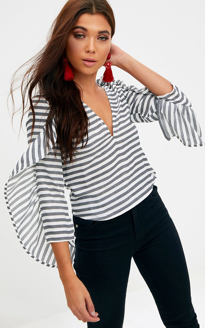Black Stripe Frill Sleeve V Neck Blouse