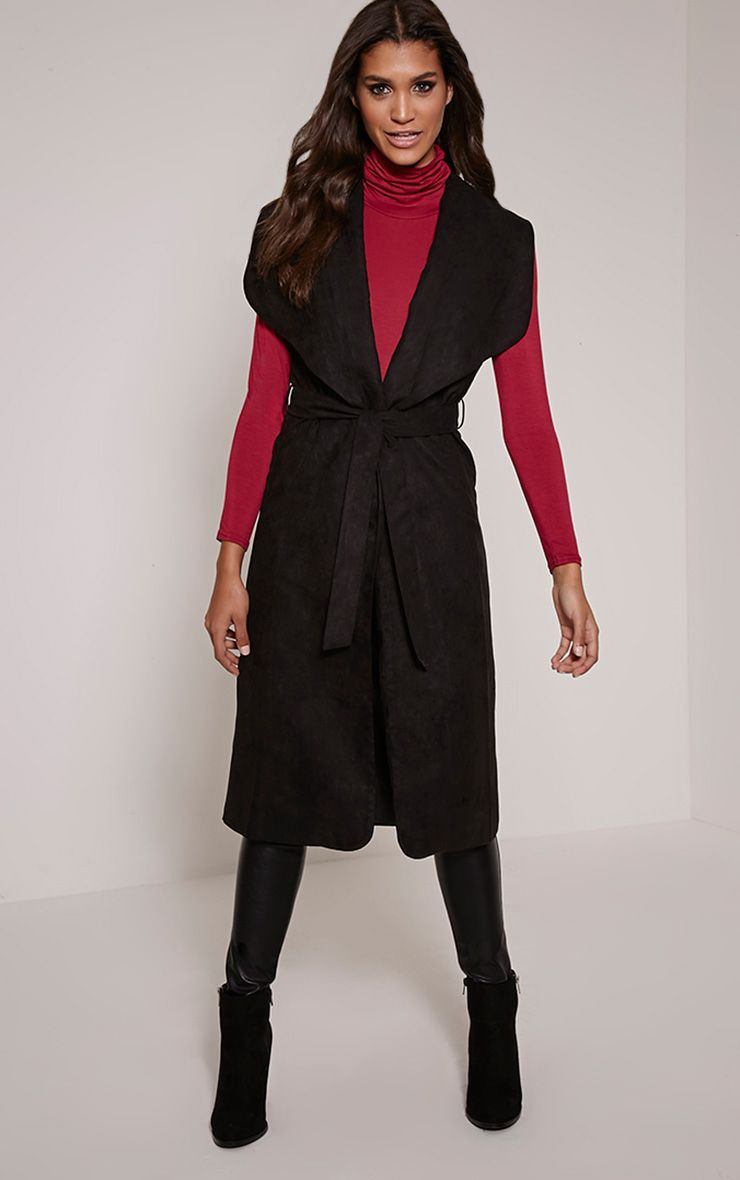 Tina Black Faux Suede Sleeveless Waterfall Coat 1
