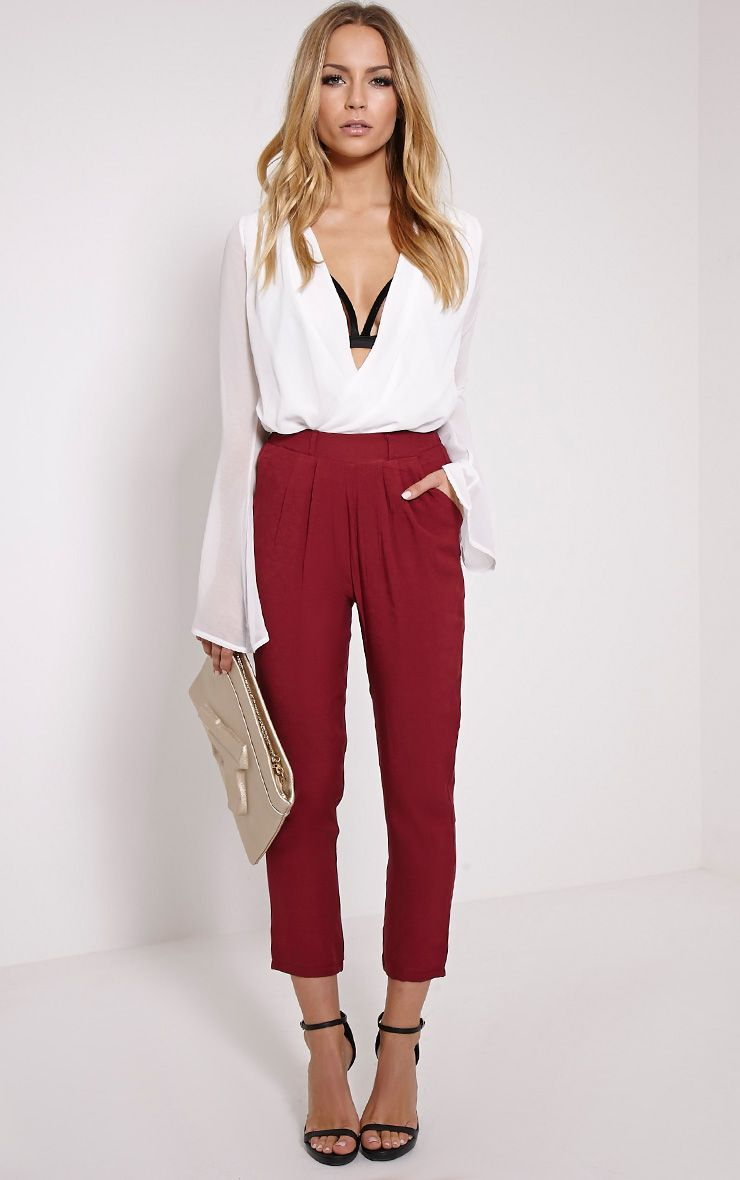 Lana Burgundy Crop Woven Trousers 1