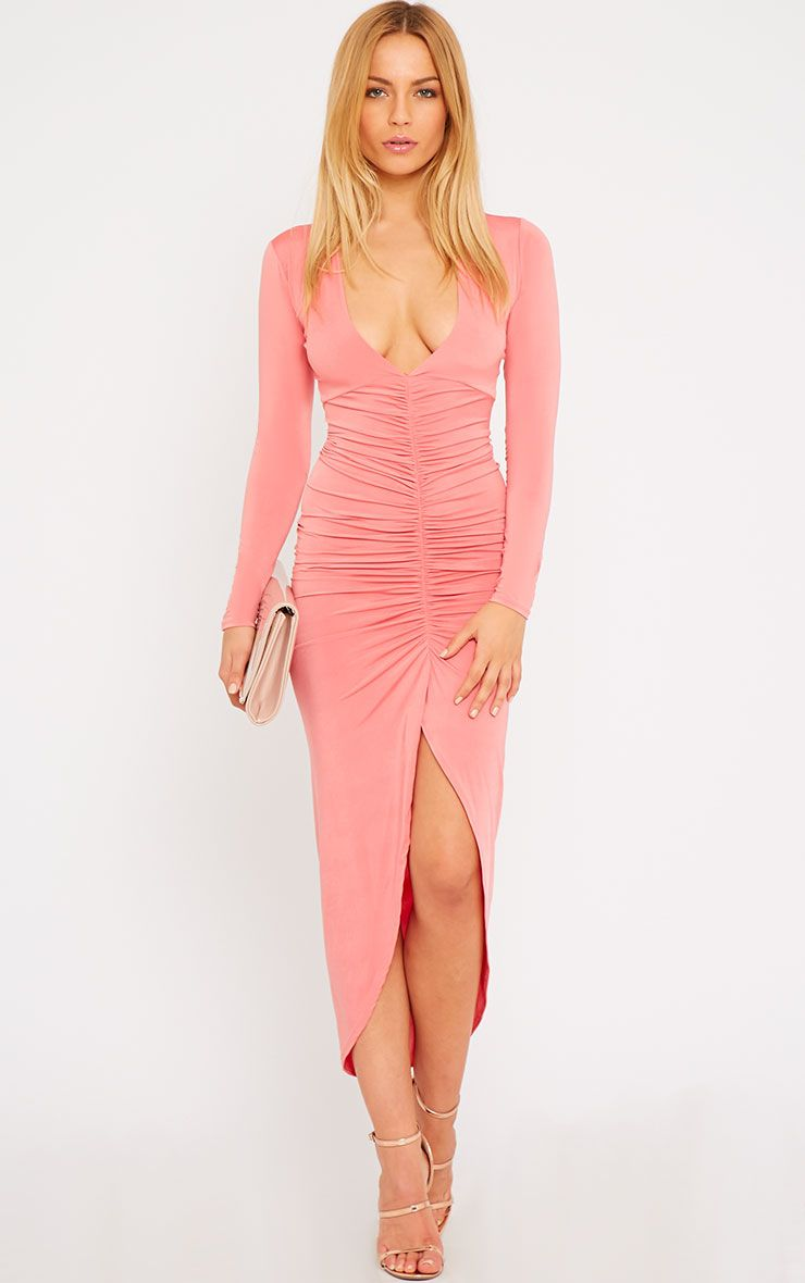 Ellie Coral Slinky Ruched Maxi Dress 1