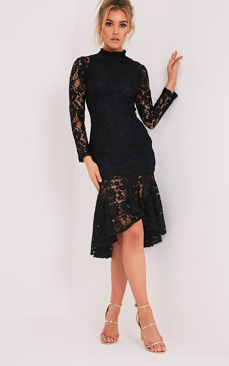 Ellina Black Lace Fishtail Midi Dress