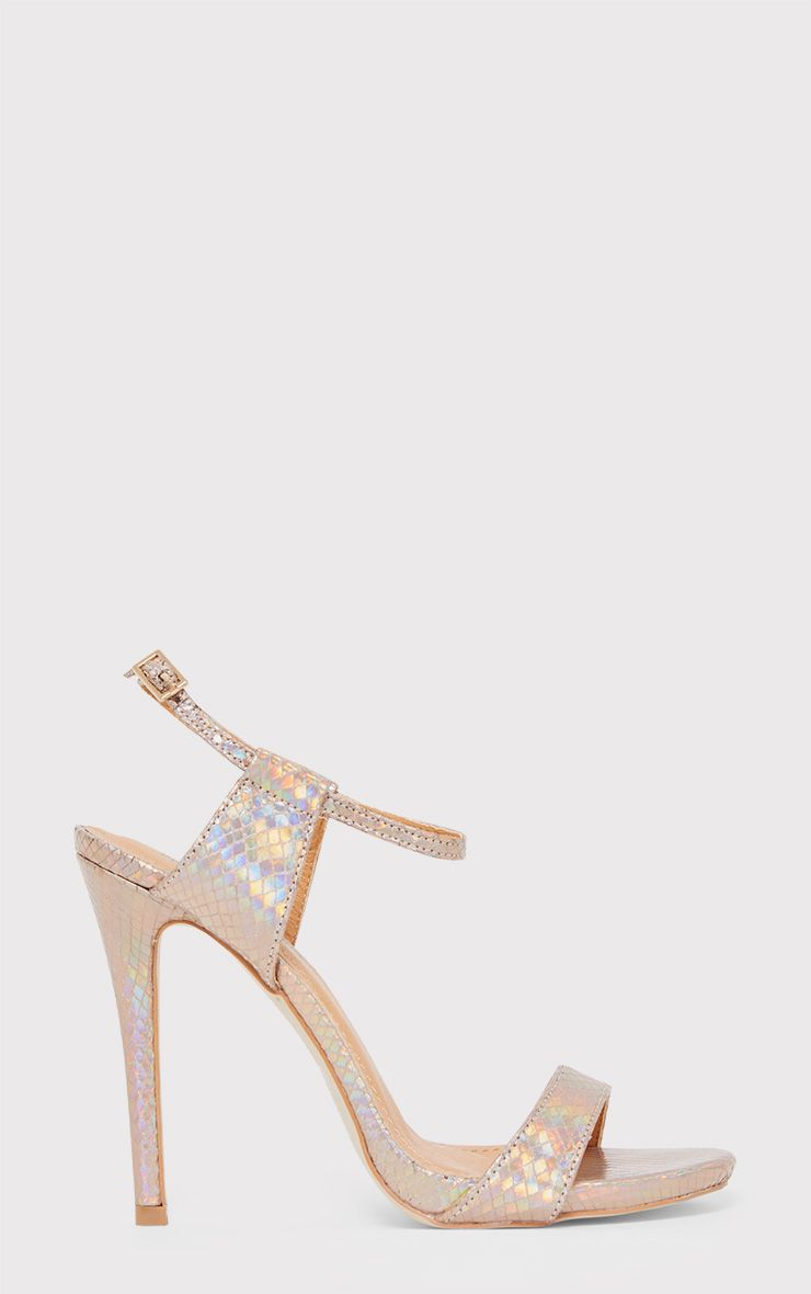Lolah Gold Iridescent Snake Effect Strappy Sandals
