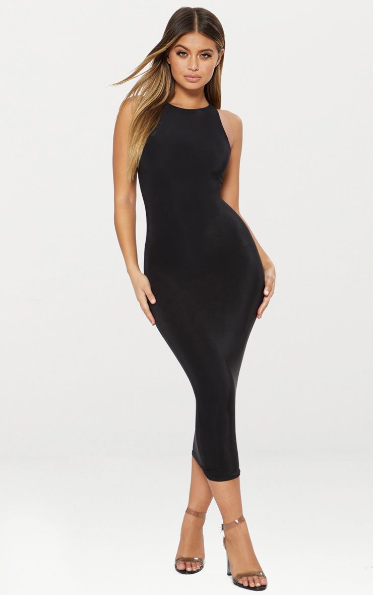 Black Second Skin Slinky Racer Neck Midaxi Dress 1