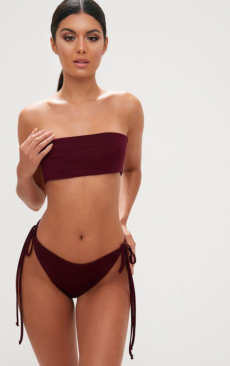 Burgundy Bandeau Bikini Top