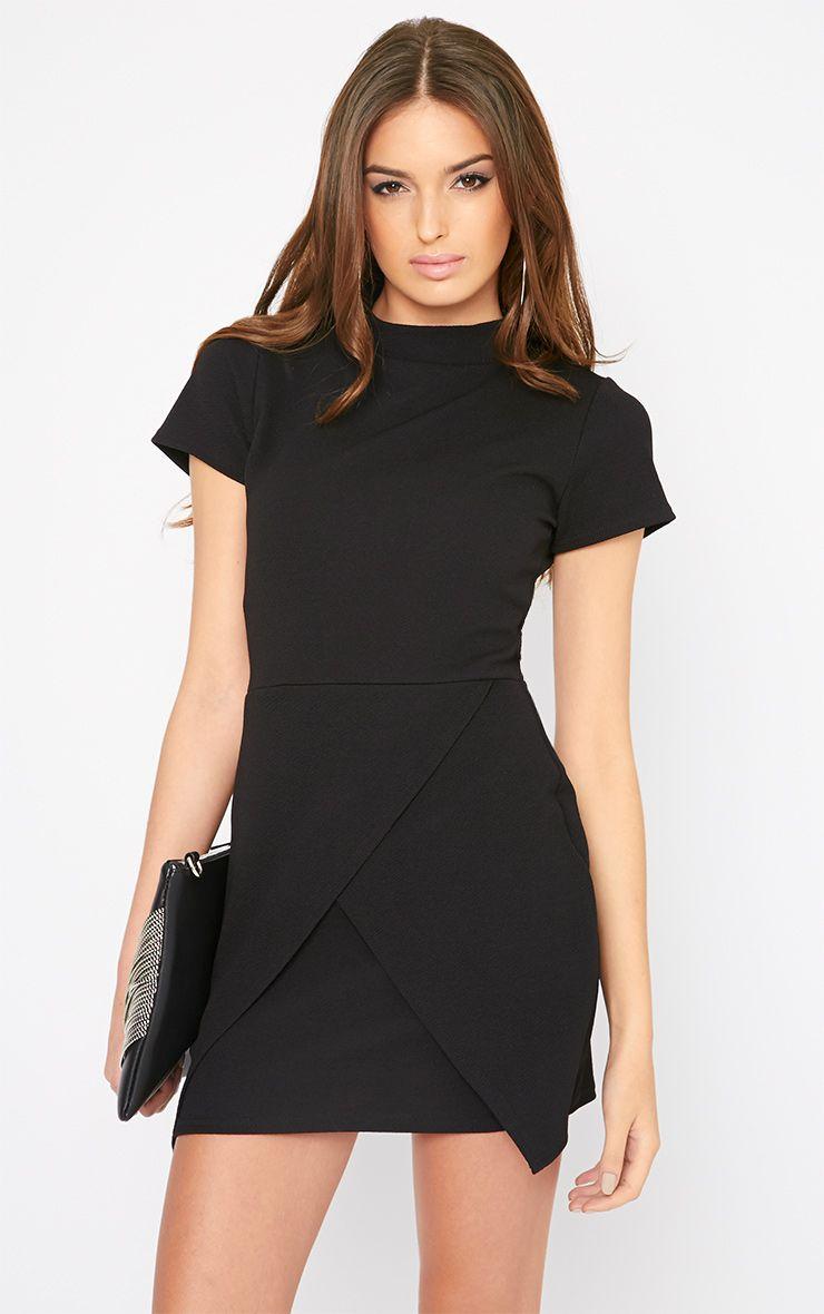 Kati Black Crepe Turtle Neck Wrap Front Mini Dress 1
