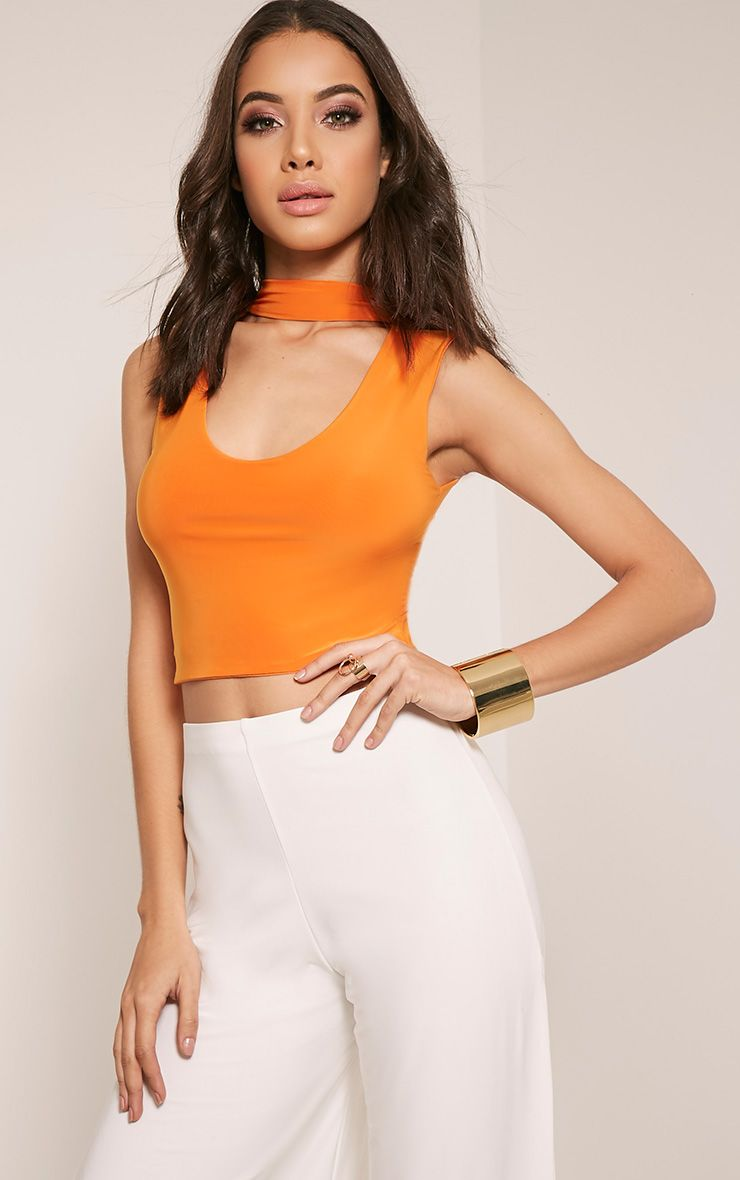 Melrose Bright Orange Cut Out Neck Slinky Crop Top 1