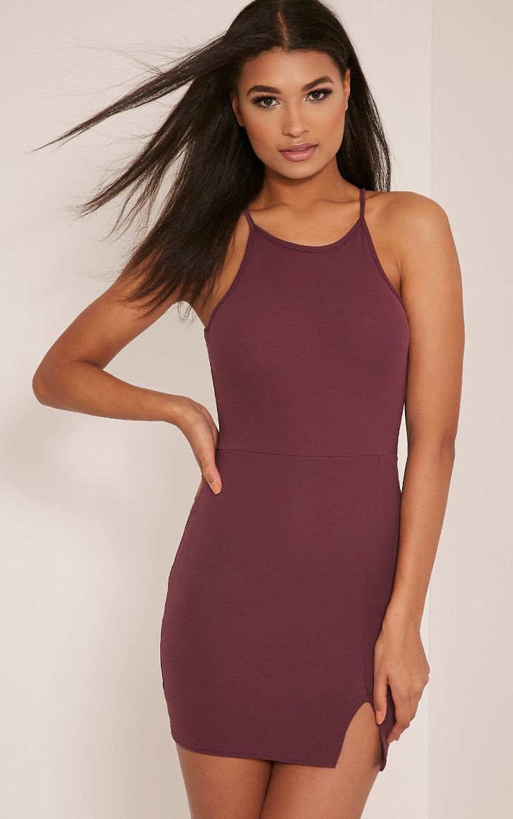 Aniqah Aubergine High Neck Split Detail Bodycon Dress