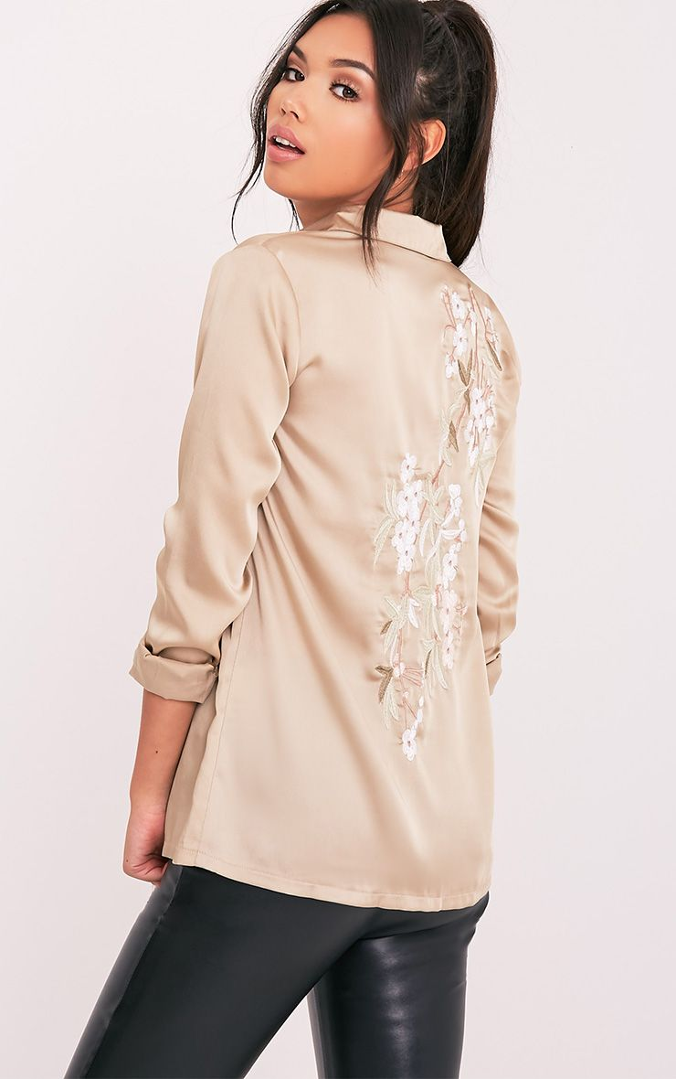 Nayee Champagne Embroidered Satin Shirt 1