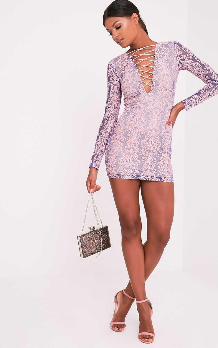 Erina Purple Lace Up Bodycon Dress 6